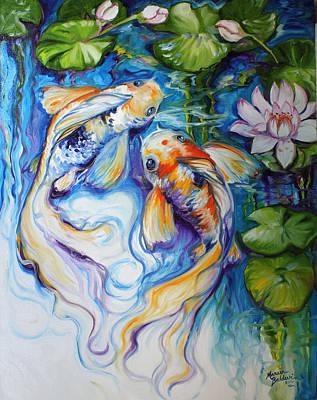 Koi Koi And Lily Art Print by Marcia Baldwin