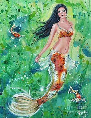 Painting - Koi Mermaid Garden by Renee Lavoie