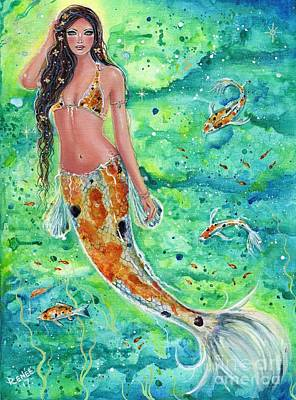 Mermaid Tail Painting - Koi Mermaid  by Renee Lavoie