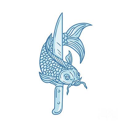 Koi Digital Art - Koi Nishikigoi Carp Fish Knife Drawing by Aloysius Patrimonio