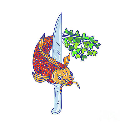 Koi Digital Art - Koi Nishikigoi Carp Fish Microgreen Tail Knife Drawing by Aloysius Patrimonio