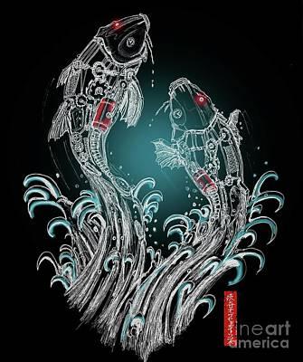 Koi Digital Art - Koi No Takinobori by Joseph Felix