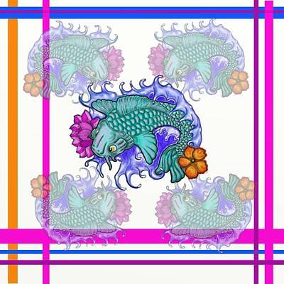 Hawaiian Fish Digital Art - Koi Plaid  by David Michael  Schmidt