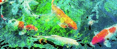 Photograph - Koi Pond Abstract by SR Green