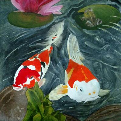 Painting - Koi Pond by Joan Mansson