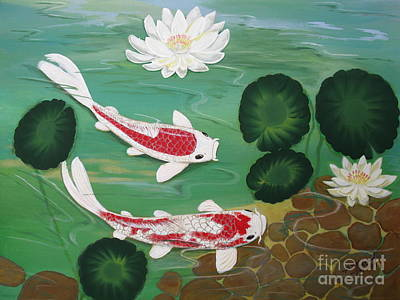 Lilly Pond Painting - Koi Pond One by Gladys Toland