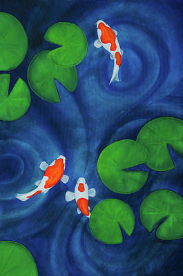 Lilly Pond Painting - Koi Pond Part One by Lael Borduin