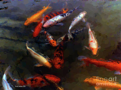 Goldfish Digital Art - Koi Pond Watercolor by Fred Jinkins