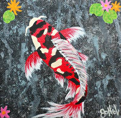 Painting - Koi Pond Red by JoNeL Art