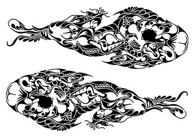 Rorschach Drawing - Koi by Thomas Coleman