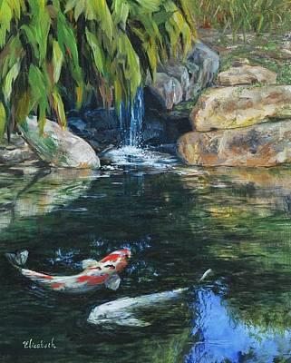 Koi Under The Waterfall Art Print by Beth Maddox