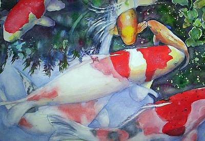 Painting - Koi Underwater Play by June Conte  Pryor