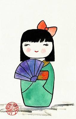 Painting - Kokeshi Doll by Terri Harris