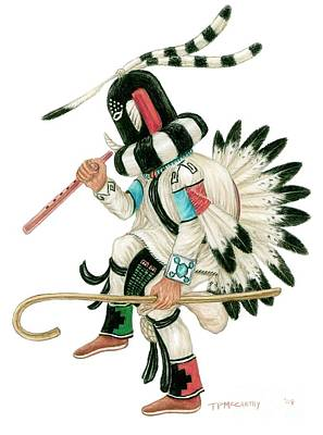 Pueblo Drawing - Kokopeli by Tim McCarthy