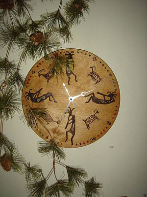 Pyrography - Kokopelli Clock by Dakota Sage