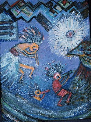 Kokopelli Dancers And Big Bird Art Print by Anne-Elizabeth Whiteway