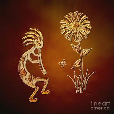 Kokopelli - Flower Serenade Art Print