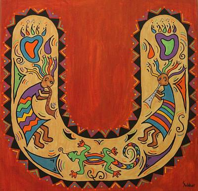 Painting - Kokopelli Horseshoe by Susie WEBER