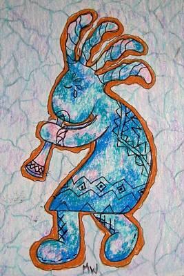 Drawing - Kokopelli In Blue by Megan Walsh