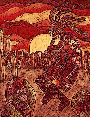 Digital Art - Kokopelli In Reds And Browns by Megan Walsh