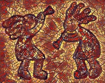 Digital Art - Kokopelli Mosaic In Reds And Browns by Megan Walsh