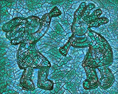Digital Art - Kokopelli Mosaic In Turquoise And Green by Megan Walsh