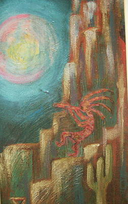 Kokopelli Night Watch Art Print by Anne-Elizabeth Whiteway