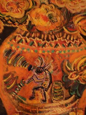 Kokopelli On Ornate Vase Art Print by Anne-Elizabeth Whiteway