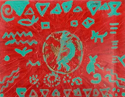 Fluted Mixed Media - Kokopelli On Red And Green Cigar Box Lid by Anne-Elizabeth Whiteway