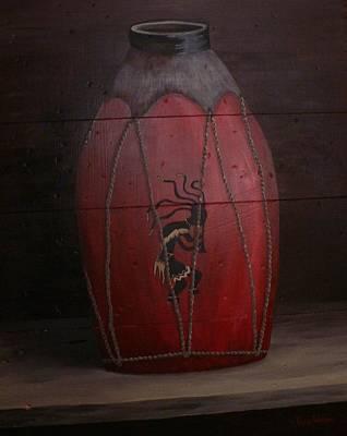 Aztec Pottery Painting - Kokopelli Pottery On Wood by Tara Wilson