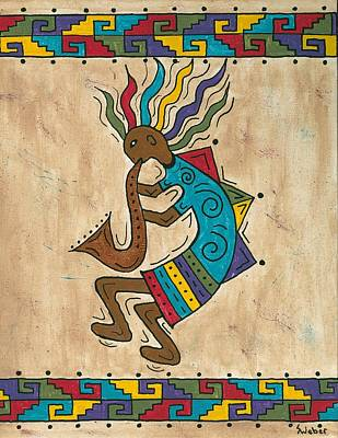 Painting - Kokopelli Sax Player by Susie WEBER