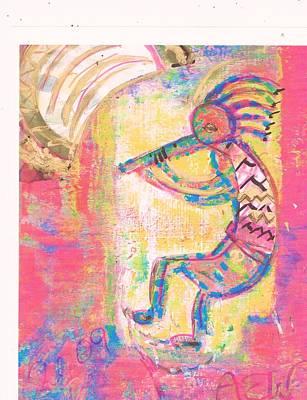 Kokopelli Sleepy Dance Art Print by Anne-Elizabeth Whiteway