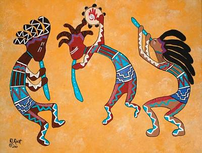 Painting - Kokopelli Trio by Ralph Root