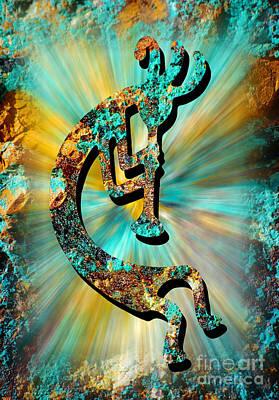Kokopelli Turquoise And Gold Art Print