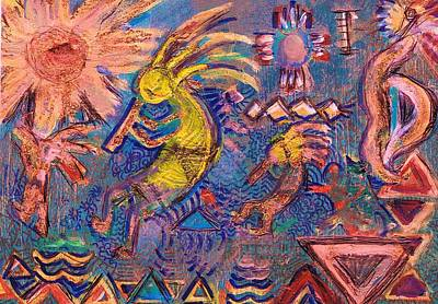 Kokopellis Gone Crazy In The Noonday Sun Art Print by Anne-Elizabeth Whiteway