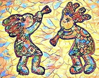 Digital Art - Kokopellis Having Fun by Megan Walsh