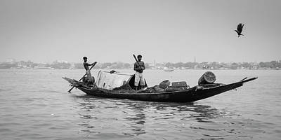 Photograph - Kolkata Fishermen On Ganges Panorama by Ranjay Mitra