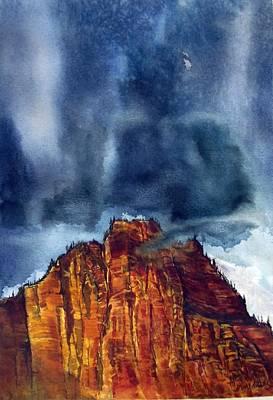 Kolob Thunderstorm Art Print by Russell Cornelius