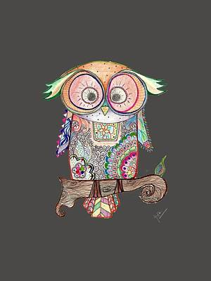 Drawing Drawing - Kolour Owl - More Clear At Night by Gopika