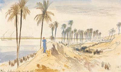 Drawing - Kom El Amhr, 1 Pm, 4 January 1867 by Edward Lear
