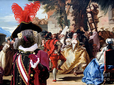 Painting - Komondor Art Canvas Print - The Carnival Dance by Sandra Sij