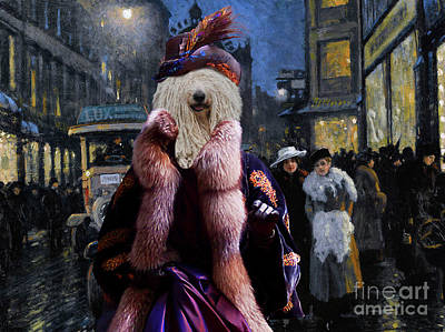 Painting - Komondor Art Canvas Print - The Town Night Out by Sandra Sij