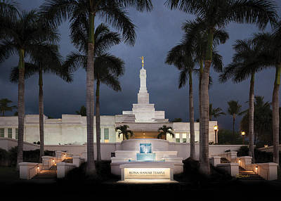Photograph - Kona Hawaii Temple-night by Denise Bird