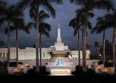 Photograph - Kona Hawaii Temple-night by Denise Bird