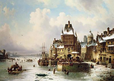 Winter Scenes Painting - Konigsberg by Ludwig Hermann
