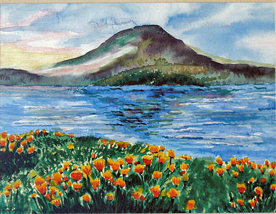 Clearlake Painting - Konocti With Poppies by Diana Liebe