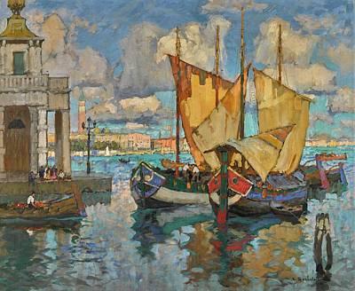 Ceramics Painting - Konstantin Ivanovich Gorbatov 1876-1945 In Venice by Artistic Rifki