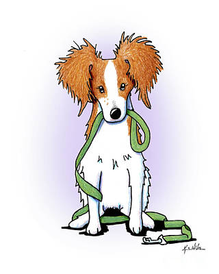 Drawing -  Kooikerhondje With Leash by Kim Niles