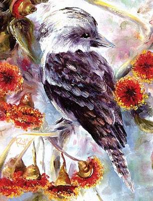 Kookaburra In Red Flowering Gum Art Print