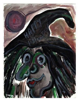 Painting - Kookie Halloween Witch by Katt Yanda